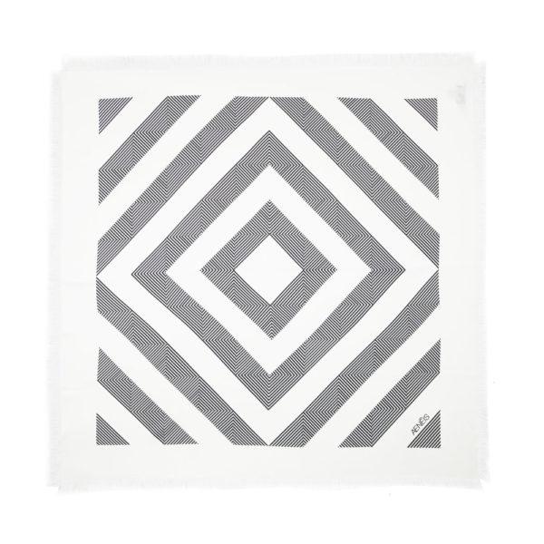 Geometric Mirage print silk scarf Cream