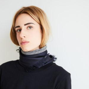 Geometric Mirage print silk scarf Black