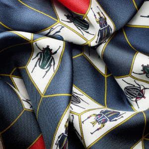 Geometrical Insects silk scarf dark blue