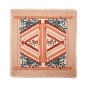 Surrealistic Tigers silk scarf Burned Rose