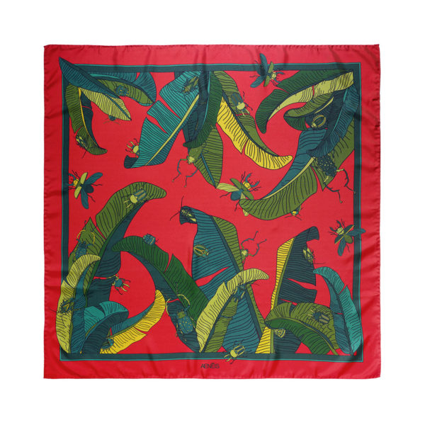 Botanical Insects silk scarf scarlet red