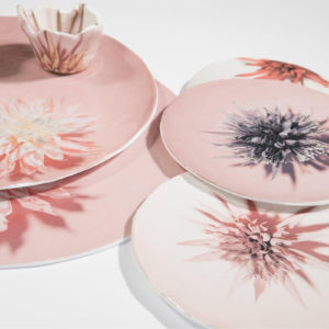 Fiore Plate Pink Yellow Large Set of 2