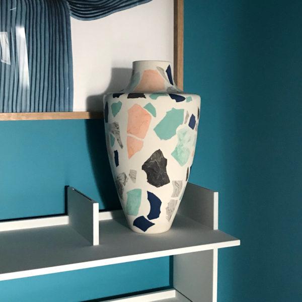 Terrazzo Vase Tuquoise-Pink