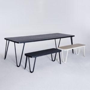 Loop Table Oak Black Stained