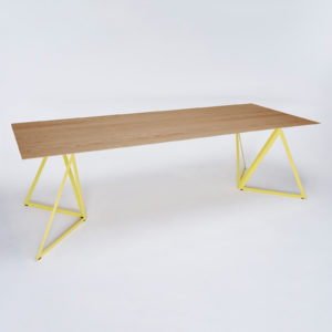 Steel Stand Oak Table