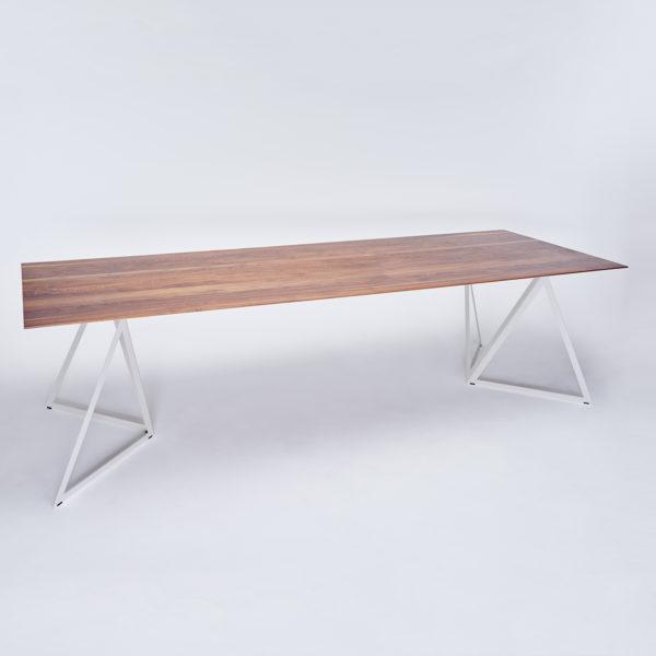 Steel Stand Walnut Table