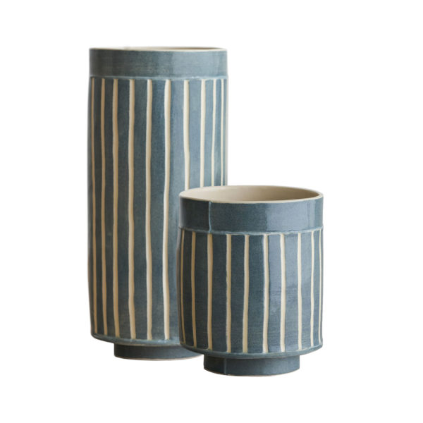 Pattern & Surface Vessel Navy Set of 2