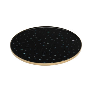 Nacre Large Tray Black Silver Delisart