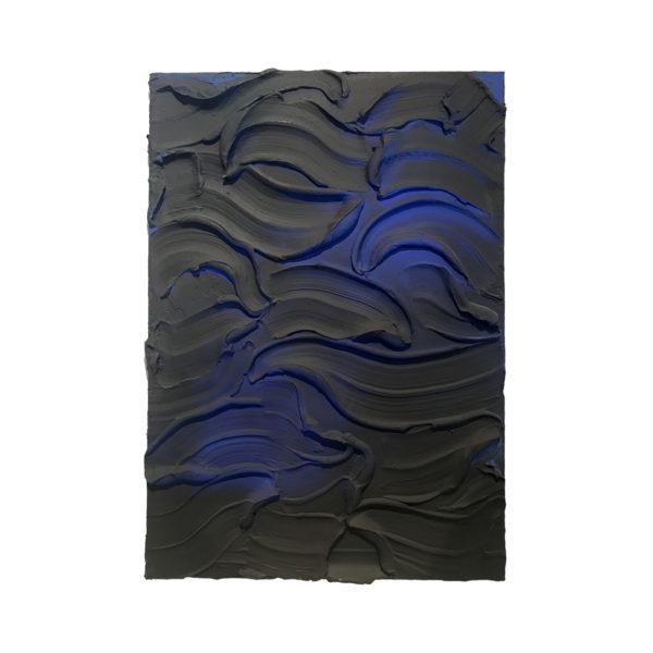 Black Ultramarine Painted Sculpture