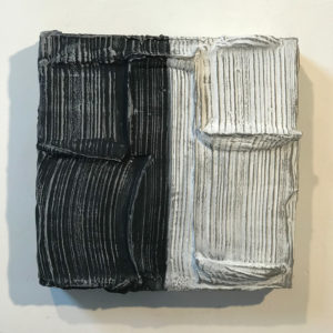 Grey Stripes Painted Sculpture