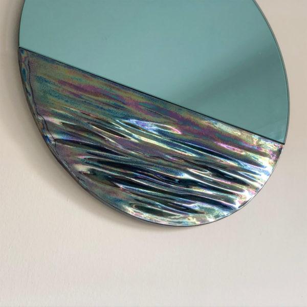 Orizon Iridiscent Blue Round Mirror