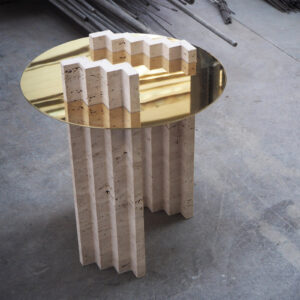 Travertine Brass Side Table