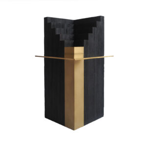 Travertine Brass Side Table Delisart