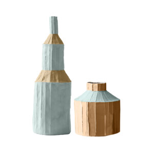 Fide Bottle Vase Blue Set of 2